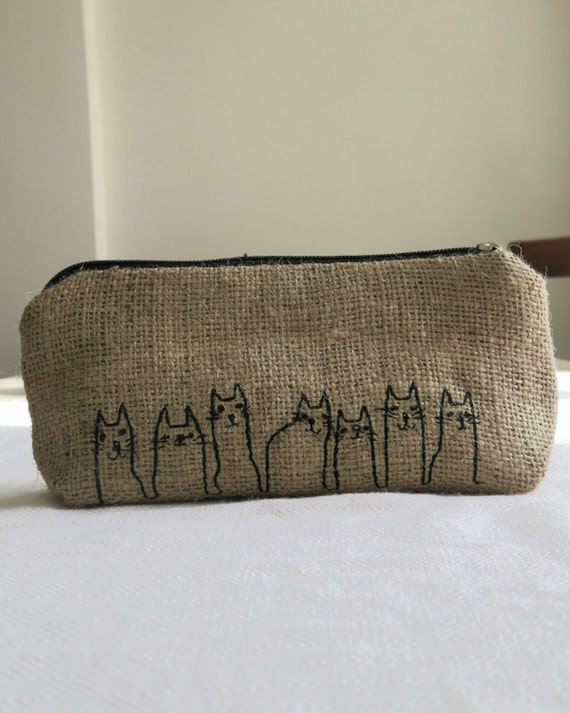 Free Shipping Burlap Cat Pencil Case with Embroidery