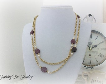 Vintage Avon Venetian Touch Necklace Amethyst Simulated Pearl