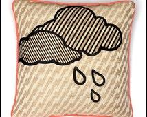 Rain Cloud Throw Pillow Casing on Designer Fabric
