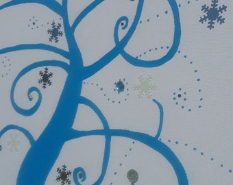 "fingerprints ""winter love"" tree with Rhinestones and snowflakes"