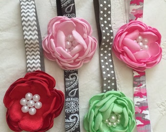 Satin Pearl Flower Band