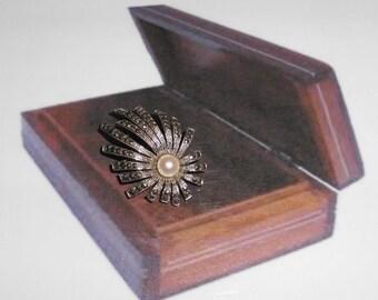 Antique silver brooch silver bead Markasiten SB106