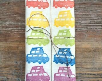 """100% Linen Volkswagen Campervan """"Rainbow Luna"""" Hand Printed Kitchen Tea Towel"""