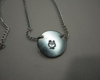 Owl stamped necklace, Aluminum necklace, Stamped necklace