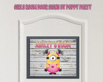 Minion Wall Decor-Girls Room Decor-Minion Art-Kids Room Door Sign-Minion Door Sign-Personalized-Printable Minion Decor-Minion Wall Prints