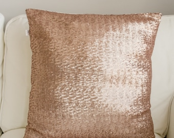 FREE SHIPPING !! Rose Gold sequin Pillow