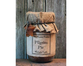 Primitive Candle, Country Candle, Rustic Candle, Pilgrim Pie Scented Jar Candle