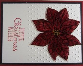 Handmade Christmas Poinsettia Card