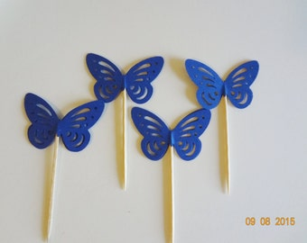 New Butterfly 12 cupcake topper Birthday gift favor lollipop girls confetti Party Blue
