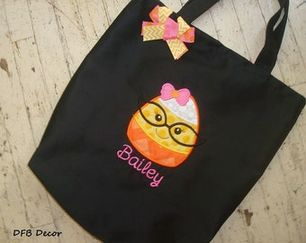 GIRLS PERSONALIZED HALLOWEEN Bag - Trick or Treat Bag - Appliqued Treat Bag - Halloween Tote -Appliqued Candy Corn Girl