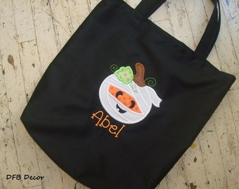 BOYS PERSONALIZED HALLOWEEN Bag - Trick or Treat Bag - Appliqued Treat Bag - Halloween Tote -Appliqued Mummy Pumpkin Halloween Bag