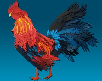 rooster papercut red blue 200x200mm print