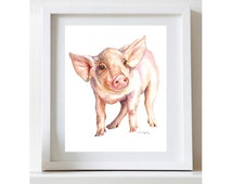 Baby Pig Painting Pig Watercolor Nursery Animal Prints Baby Pig Watercolor Fine Art Print Farm Print Cris Clapp Logan