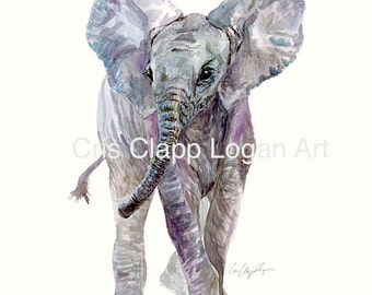 Baby Elephant Art Baby Elephant Painting, Baby Elephant Print, Baby Elephant Watercolor, Animal Art, Safari Art, Nursery Art
