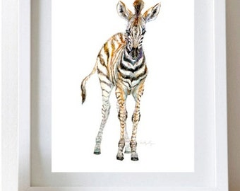 Baby Zebra Painting Baby Zebra Print Nursery Animal Art Print Zebra Watercolor Safari Art Painting Cris Clapp Logan