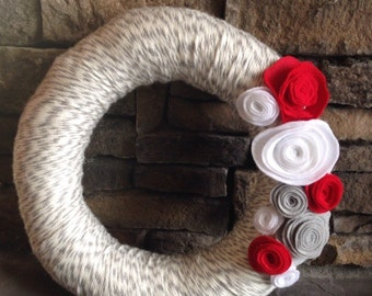 Yarn Wreath Handmade with felt flowers
