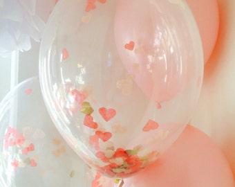 Love Heart Pink & Gold Confetti Balloons PK 3, Wedding, Party, Birthday, Girls