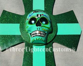Cool Sea Glass Green Skull Mounted On Candy Flaked Green and Sea Glass Green Cross