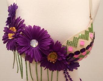 Late fall Daisy Purple Rave Bra edc outfit