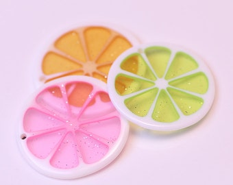 10pcs 3cm Resin lemon slices charm with hole Fruits slices Cabochons diy phone case accessories