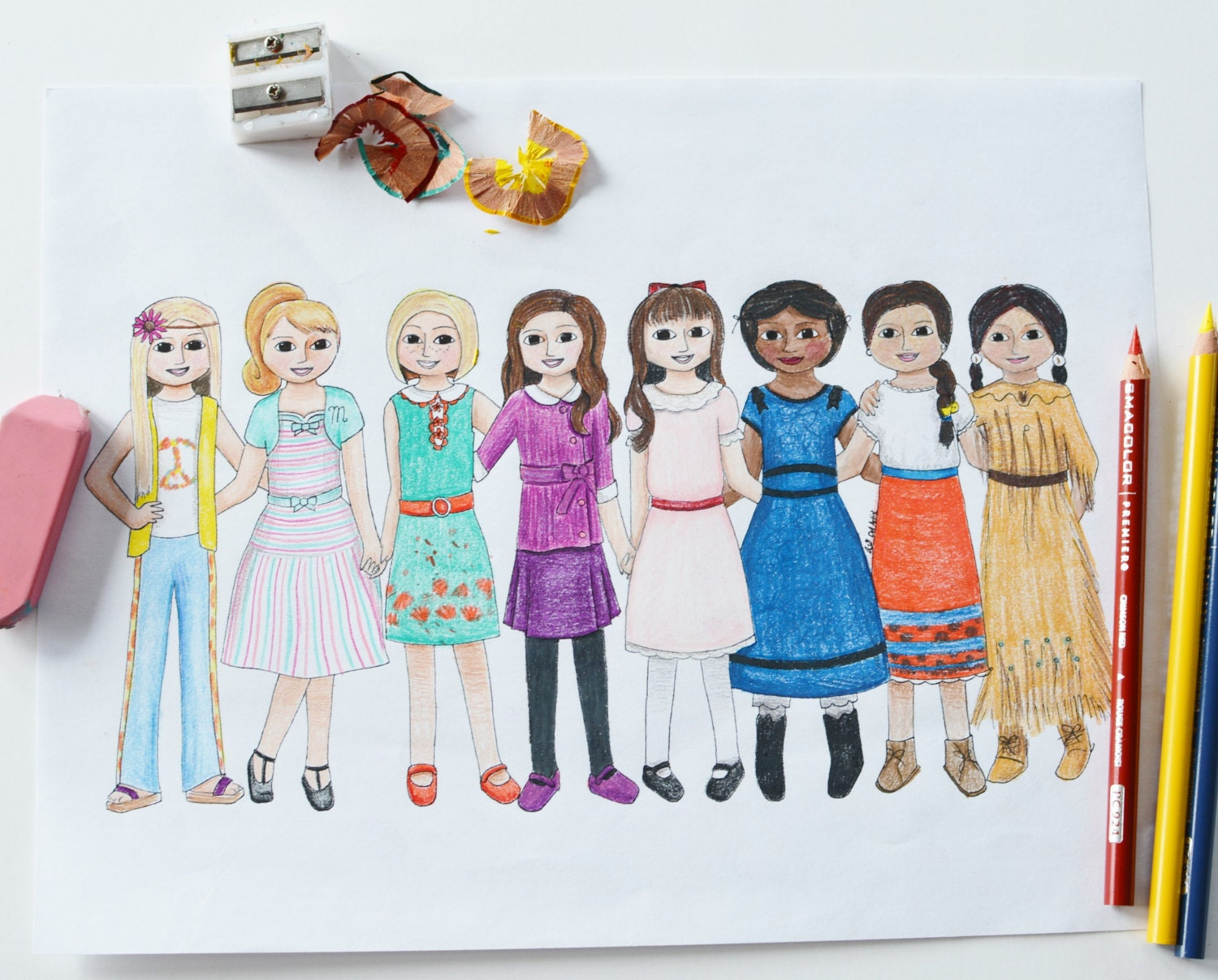 Historical Characters Dolls Inspired Handmade Coloring Page