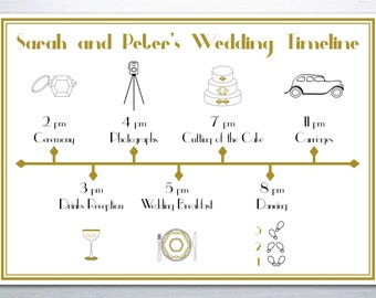 Printable 1920s Great Gatsby Wedding Timeline: Black and Gold
