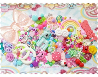 Huge kawaii Diy decoden kit over 50 grams sweets/pony/cake/bow/rainbow etc