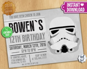 Star Wars Stormtrooper Invitation - EDITABLE TEXT - Customizable Printable Birthday Party Invite Jedi Sith Knight Galaxy - Instant Download