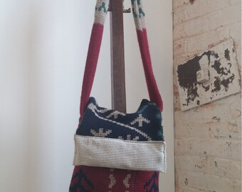 Red, Navy, and Corduroy Repurposed Sweater Bag