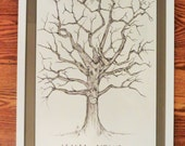 Family Tree Guestbook Matted and Framed - Custom order, handmade 14×22
