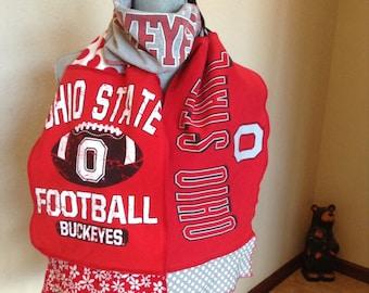 Ohio Buckeyes Scarf, Buckeyes Tshirt scarf, Upcycled Tshirt scarf, OHIO1