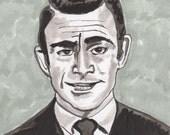 Rod Serling, Twilight Zone- Hand Drawn Portrait 4x4 inches