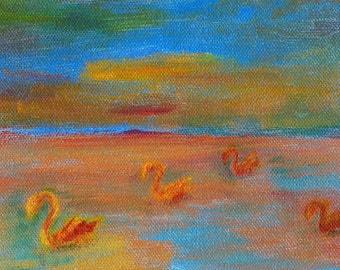 "Small Acrylic Swan Painting, Original Artwork, One of a Kind Art, Wall Decor, 5"" x 7"""