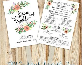 Printable Wedding Program Fan Digital File- Double-Sided Program Fan~ Watercolor flowers, rustic florals, hand script font calligraphy