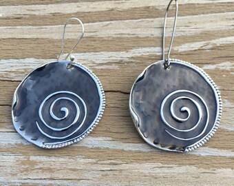 Grey silver gauge earrings