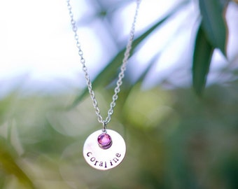 Hand Stamped Name Necklace with Birthstone