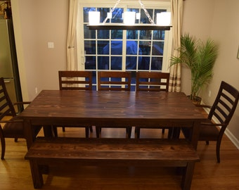 Traditional Farmhouse Table   Custom Built  Farmhouse Dining Room Table