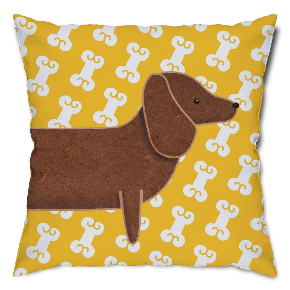 Dachshund and Dog Bones Throw Pillow by MyWonderfulHomeDecor