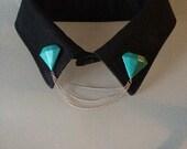 Diamond collar pins set with chains