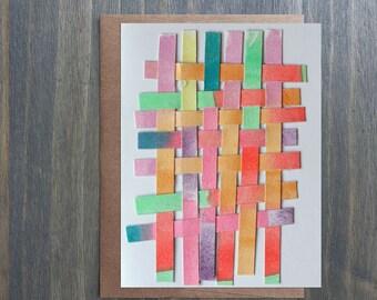 "Original Art Blank Greeting Card with Envelope, Rainbow, Paper Weaving, 5"" x 6.5"""