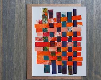 "Original Art Blank Greeting Card with Envelope, Paper Weaving, Red Orange, 5"" x 6.5"""