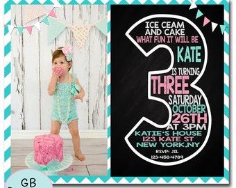 THIRD BIRTHDAY INVITATION Girl, 3RD Birthday Invitation Girl, Girls 3RD Birthday Invitation, Printable 3RD Birthday Invitation
