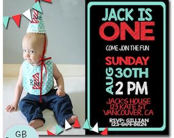 FIRST BIRTHDAY INVITATION Boy, 1st Birthday Invitation Boy, Boys 1st Birthday Invitation, Printable 1st Birthday Invitation
