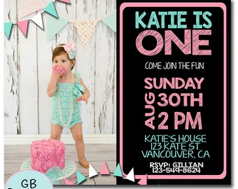 FIRST BIRTHDAY INVITATION Girl, 1st Birthday Invitation Girl, Girls 1st Birthday Invitation, Printable 1st Birthday Invitation