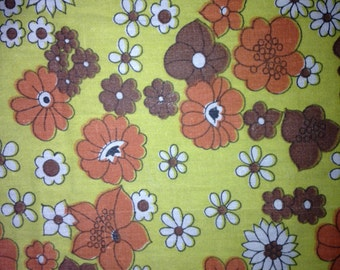Scandinavian printed vintage floral quilt fabric on yellow bottom color from Sweden 1970s.