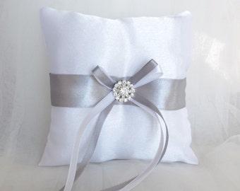 Ring Bearer Pillow  Grey Satin Ring Bearer Pillow Grey White Ring bearer Pillow Ringbearer Pillow Wedding Gray Wedding Bridal Accessory