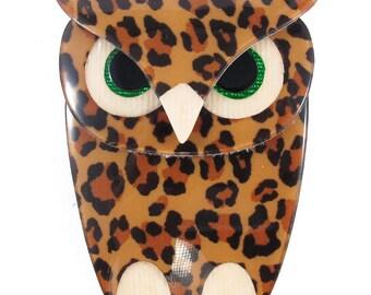 Lea Stein Owl Brooch Animal Print