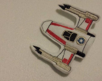 space fighter ship finger puppet embroidery design