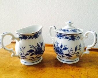 Vintage Symco Blue Chatham Cream and Sugar Bowl Set