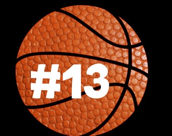 Basketball Decal with Player Number Decal! Perfect for your car, cooler, or travel mug! Support your favorite male or female player!